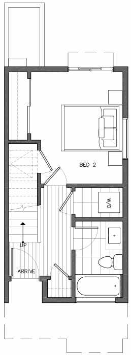 First Floor Plan of 6517H Phinney Ave N, One of the Rainier Townhomes in The Peaks at Phinney Ridge by Isola Homes