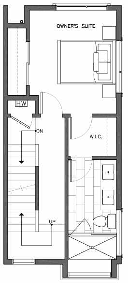 Third Floor Plan of 6517H Phinney Ave N, One of the Rainier Townhomes in The Peaks at Phinney Ridge by Isola Homes