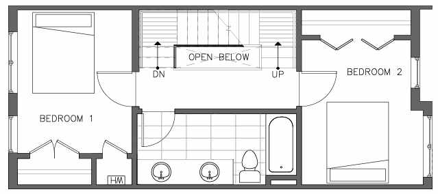 Third Floor Plan of the Pinyon Floor Plan at The Pines at Northgate
