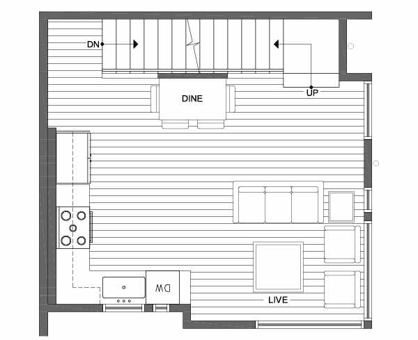Second Floor Plan of 1701 NW 62nd St of the Kai Townhomes in Ballard