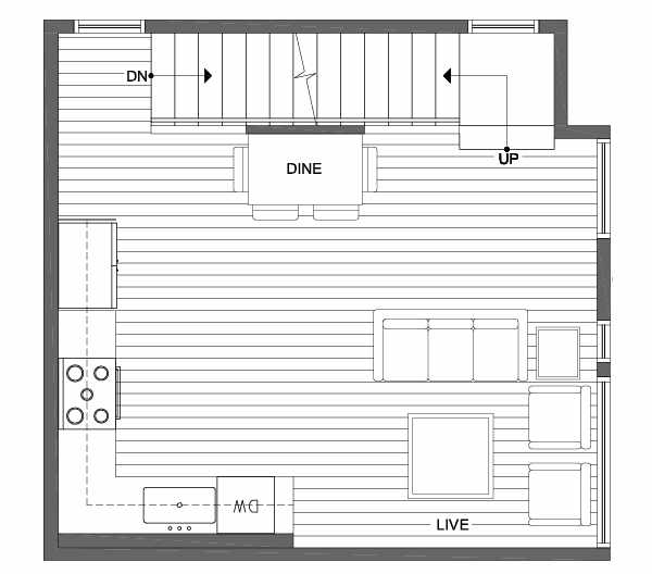 Second Floor Plan of 1703 NW 62nd St of the Kai Townhomes in Ballard