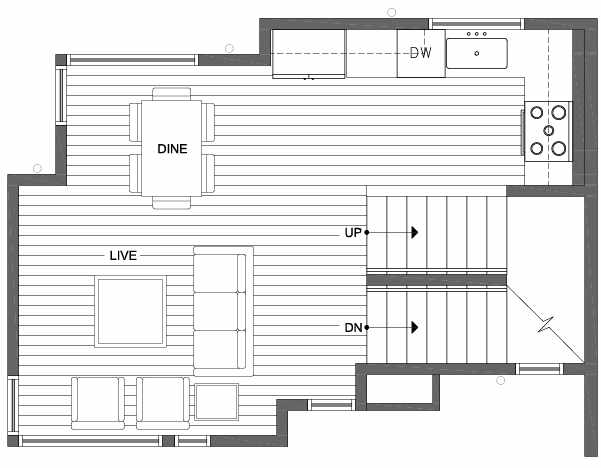 Second Floor Plan of 6111 17th Ave NW of the Kai Townhomes in Ballard