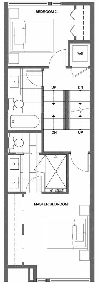 Second Floor Plan of 6117 17th Ave NW of the Kai Townhomes in Ballard