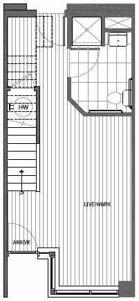 First Floor Plan of Talta Live-Work Floor Plan D