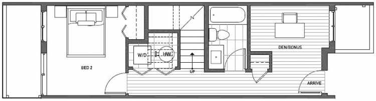 First Floor Plan of Talta Two-Bedroom Townhome with the Katrine Floor Plan