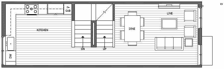 Second Floor Plan of Talta Two-Bedroom Townhome with the Katrine Floor Plan