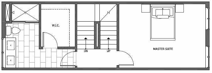 Third Floor Plan of Talta Two-Bedroom Townhome with the Katrine Floor Plan