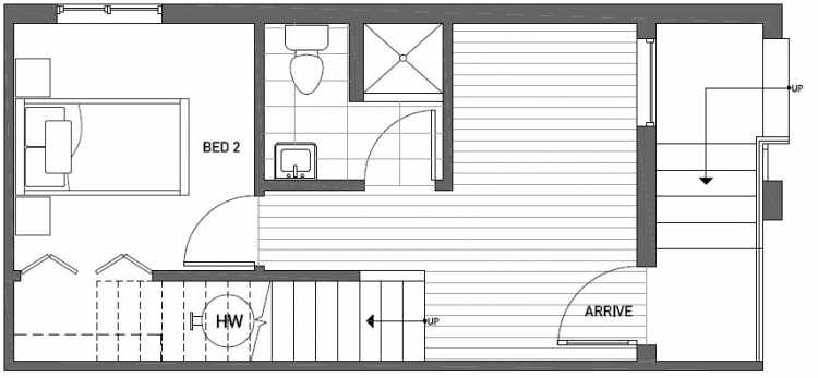 First Floor Plan of Talta Two-Bedroom Townhome with the Nissa Floor Plan