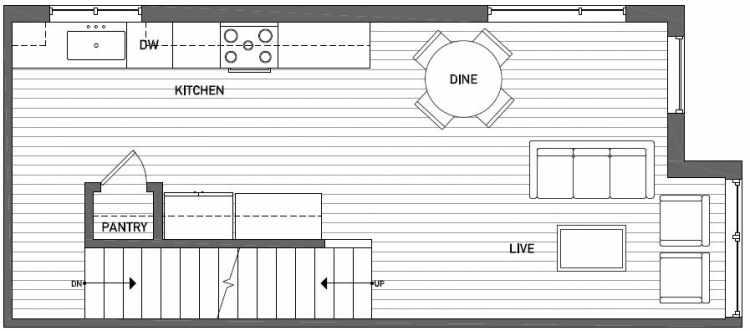 Second Floor Plan of Talta Two-Bedroom Townhome with the Nissa Floor Plan