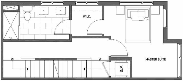 Third Floor Plan of Talta Two-Bedroom Townhome with the Nissa Floor Plan