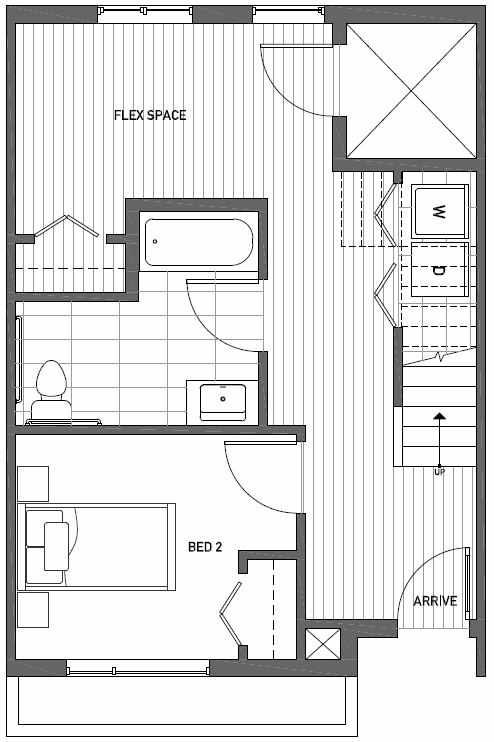 First Floor Plan of Talta Two-Bedroom Townhome with the Britt Floor Plan