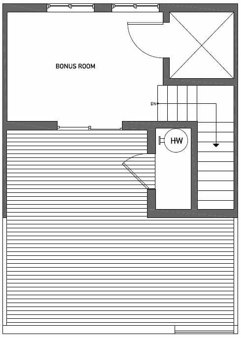 Roof Deck Floor Plan of Talta Two-Bedroom Townhome with the Britt Floor Plan
