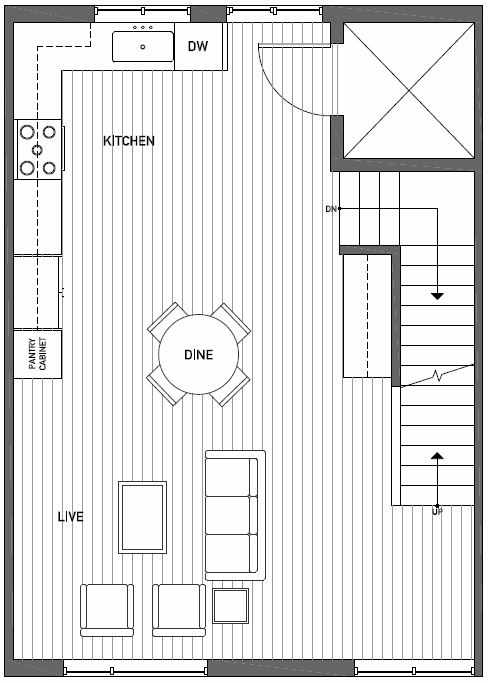 Second Floor Plan of Talta Two-Bedroom Townhome with the Britt Floor Plan