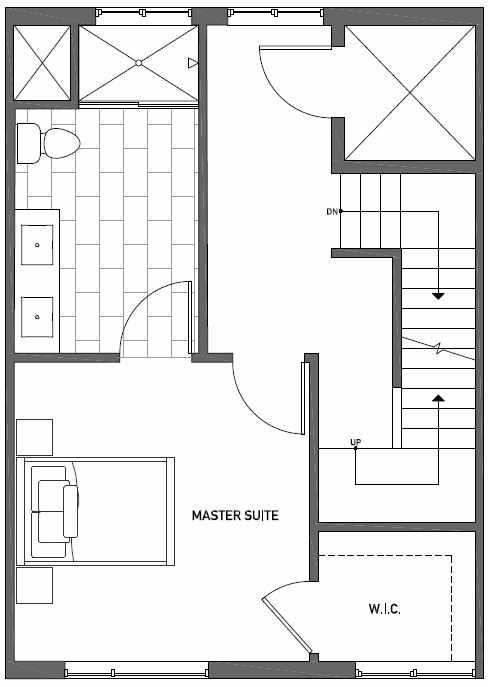 Third Floor Plan of Talta Two-Bedroom Townhome with the Britt Floor Plan