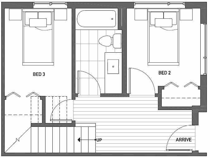 First Floor Plan of Talta Three-Bedroom Townhome with the Runa Floor Plan