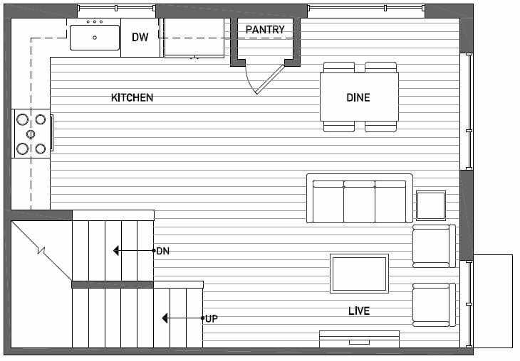 Second Floor Plan of Talta Three-Bedroom Townhome with the Runa Floor Plan