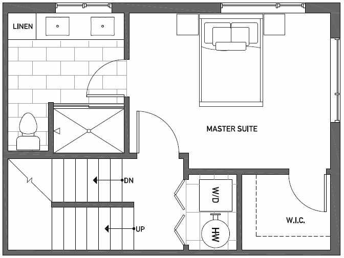 Third Floor Plan of Talta Three-Bedroom Townhome with the Runa Floor Plan