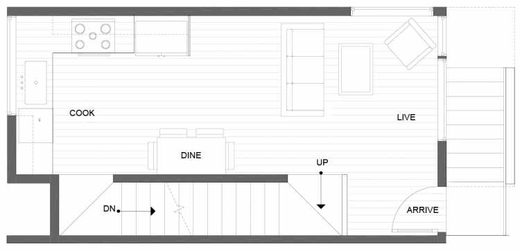Second Floor Plan of 1271 N 145th St, One of the Tate Townhomes in Haller Lake
