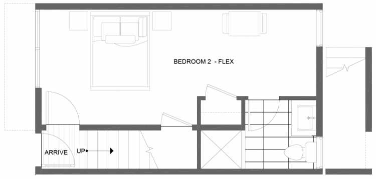 First Floor Plan of 1275 N 145th St, One of the Tate Townhomes in Haller Lake