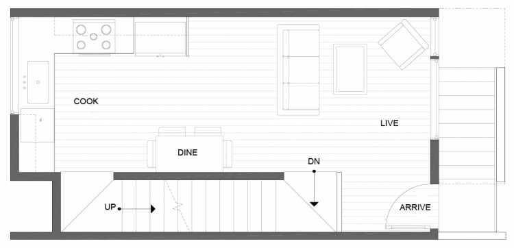Second Floor Plan of 1275 N 145th St, One of the Tate Townhomes in Haller Lake