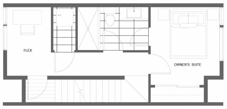 Third Floor Plan of 1277 N 145th St, One of the Tate Townhomes in Haller Lake