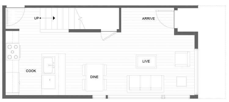 First Floor Plan of 1281 N 145th St, One of the Tate Townhomes in Haller Lake