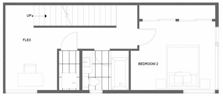 Second Floor Plan of 1281 N 145th St, One of the Tate Townhomes in Haller Lake