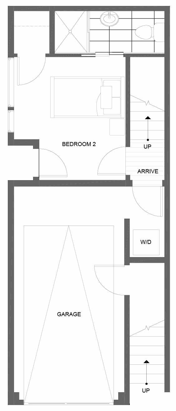 First Floor Plan of 14351 Stone Ave N, One of the Tate Townhomes in Haller Lake