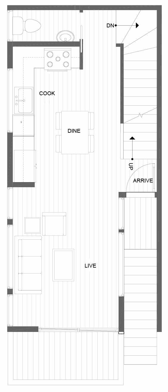 Second Floor Plan of 14351 Stone Ave N, One of the Tate Townhomes in Haller Lake