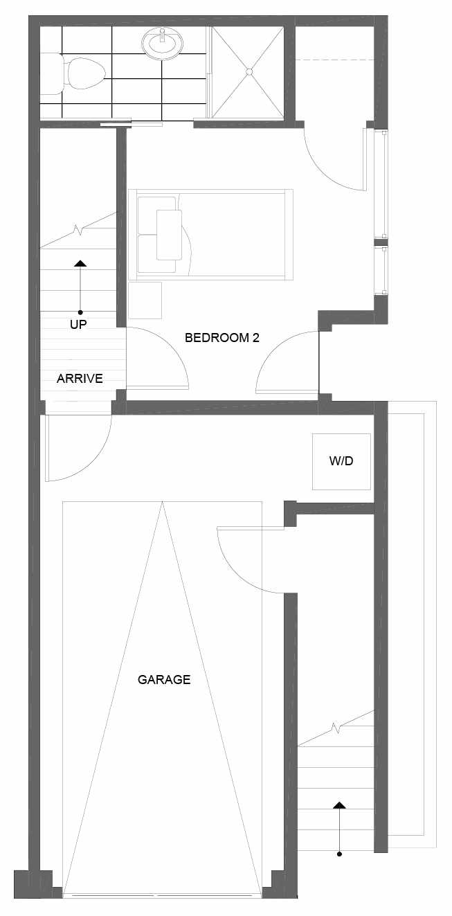 First Floor Plan of 14353 Stone Ave N, One of the Tate Townhomes in Haller Lake