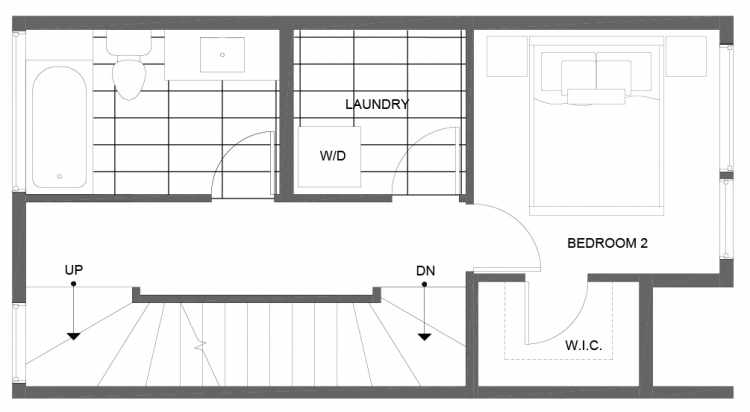 Second Floor Plan of 14355 Stone Ave N, One of the Tate Townhomes in Haller Lake