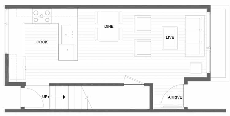 First Floor Plan of 14355 Stone Ave N, One of the Tate Townhomes in Haller Lake