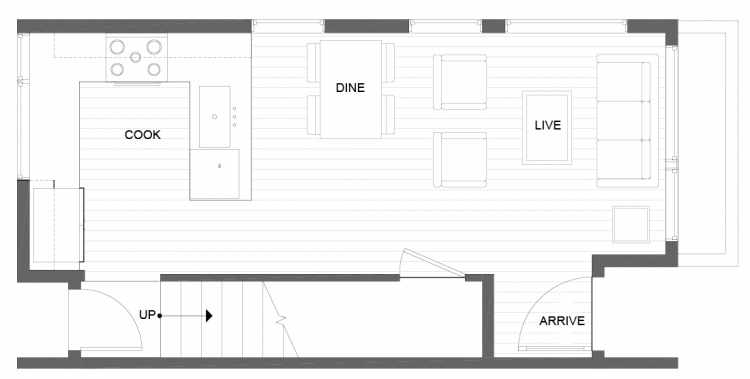 First Floor Plan of 14357 Stone Ave N, One of the Tate Townhomes in Haller Lake