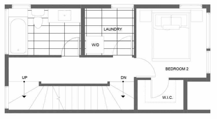 Second Floor Plan of 14357 Stone Ave N, One of the Tate Townhomes in Haller Lake