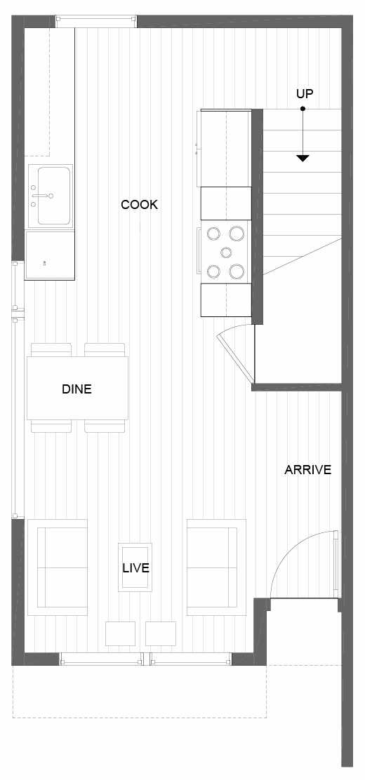 First Floor Plan of 14359 Stone Ave N, One of the Tate Townhomes in Haller Lake
