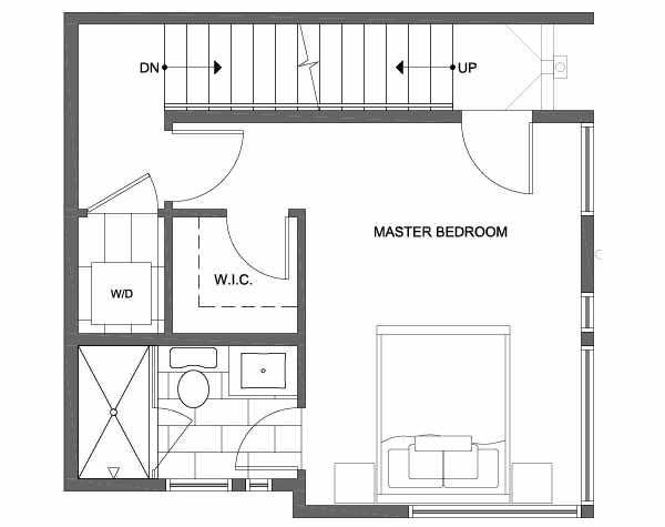 Third Floor Plan of 1701 NW 62nd St of the Kai Townhomes in Ballard
