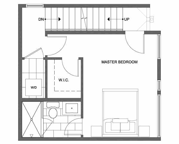 Third Floor Plan of 1703 NW 62nd St of the Kai Townhomes in Ballard