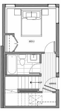 First Floor Plan of 3062A SW Avalon Way in West Seattle of Isla Townhomes