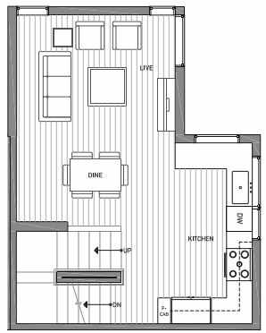 Second Floor Plan of 3062A SW Avalon Way in West Seattle of Isla Townhomes