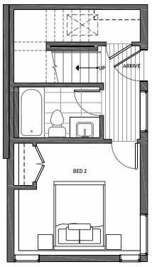 First Floor Plan of 3062B SW Avalon Way in West Seattle of Isla Townhomes