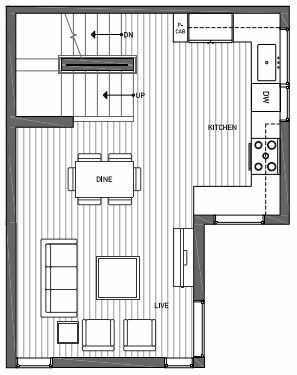 Second Floor Plan of 3062B SW Avalon Way in West Seattle of Isla Townhomes