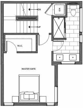 Third Floor Plan of 3062B SW Avalon Way in West Seattle of Isla Townhomes