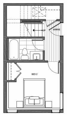 First Floor Plan of 3062D SW Avalon Way in West Seattle of Isla Townhomes