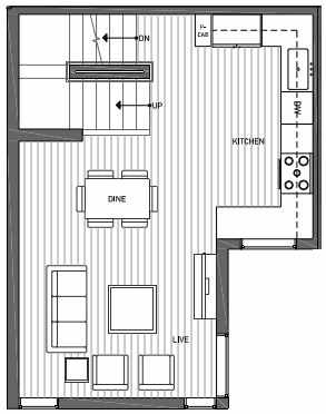 Second Floor Plan of 3062D SW Avalon Way in West Seattle of Isla Townhomes