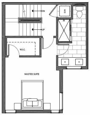 Third Floor Plan of 3062D SW Avalon Way in West Seattle of Isla Townhomes