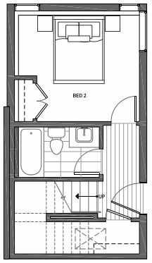 First Floor Plan of 3062C SW Avalon Way in West Seattle of Isla Townhomes