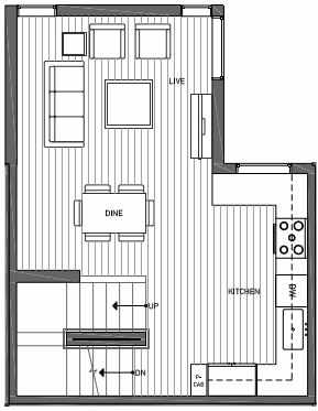 Second Floor Plan of 3062C SW Avalon Way in West Seattle of Isla Townhomes