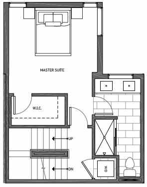 Third Floor Plan of 3062C SW Avalon Way in West Seattle of Isla Townhomes