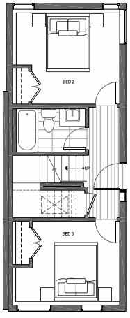 First Floor Plan of 3062E SW Avalon Way in West Seattle of Isla Townhomes