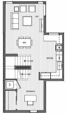 Second Floor Plan of 3062E SW Avalon Way in West Seattle of Isla Townhomes